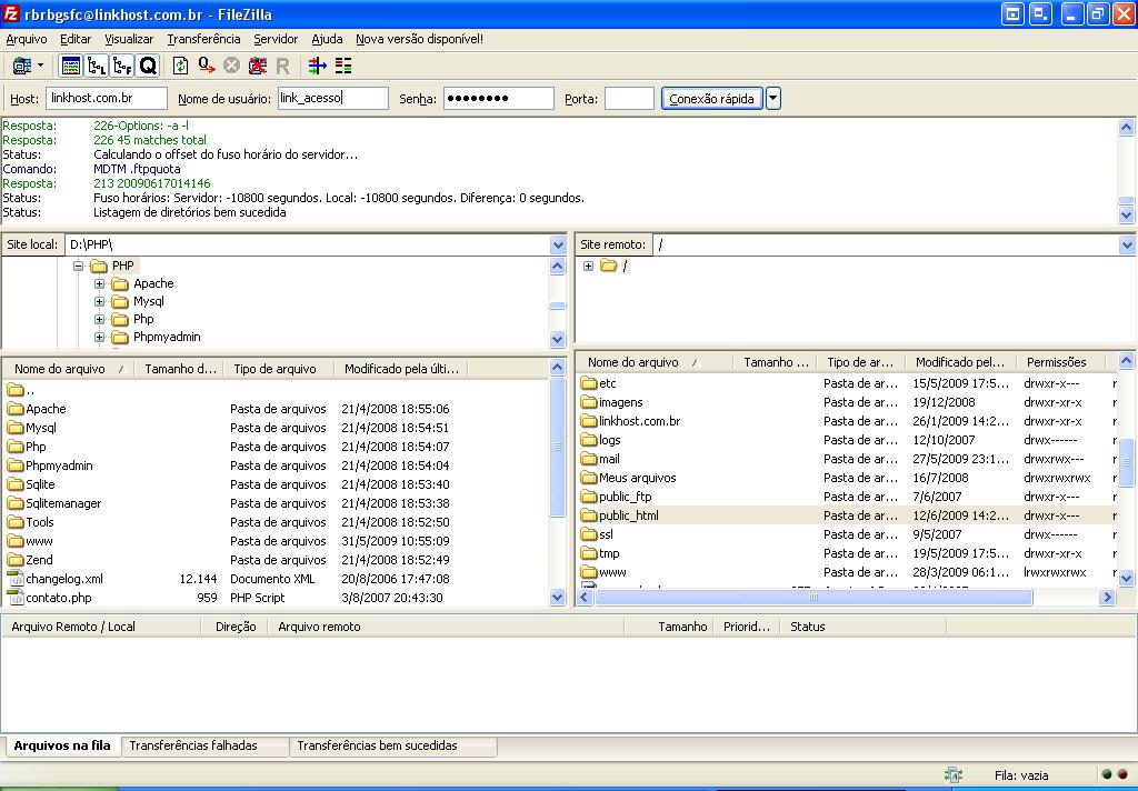 Enviando os arquivos de seu site, utilizando um programa FTP